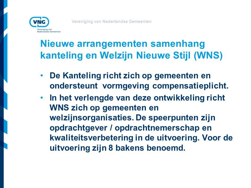 Vereniging van Nederlandse Gemeenten Nieuwe arrangementen samenhang kanteling en Welzijn Nieuwe Stijl (WNS) De Kanteling richt zich op gemeenten en ondersteunt vormgeving compensatieplicht.