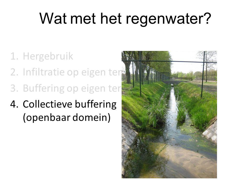Wat met het regenwater? 1.Hergebruik 2.Infiltratie op eigen terrein 3.Buffering op eigen terrein 4.Collectieve buffering (openbaar domein)