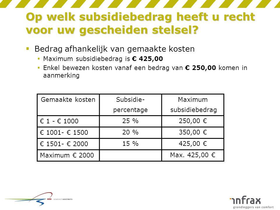 Op welk subsidiebedrag heeft u recht voor uw gescheiden stelsel?  Bedrag afhankelijk van gemaakte kosten  Maximum subsidiebedrag is € 425,00  Enkel