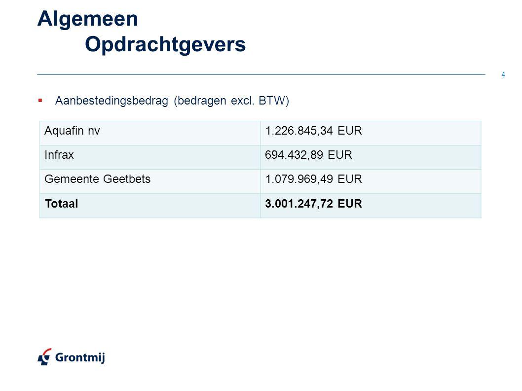 4 Algemeen Opdrachtgevers Aquafin nv1.226.845,34 EUR Infrax694.432,89 EUR Gemeente Geetbets1.079.969,49 EUR Totaal3.001.247,72 EUR  Aanbestedingsbedrag (bedragen excl.