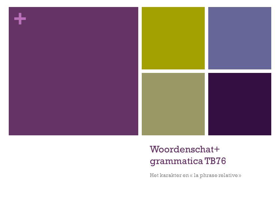 + Woordenschat+ grammatica TB76 Het karakter en « la phrase relative »