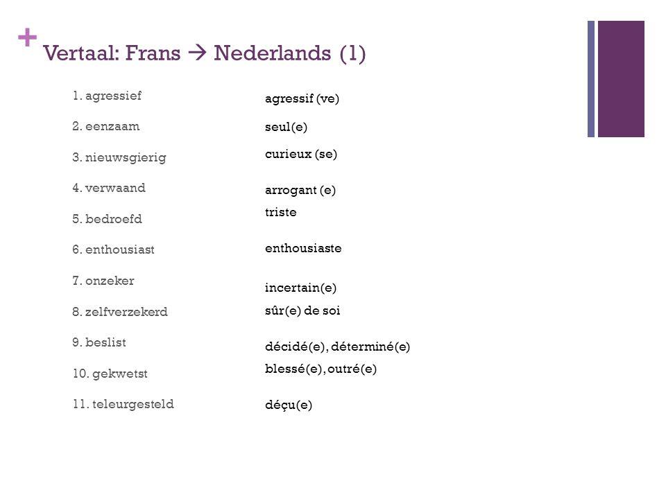 + Vertaal: Frans  Nederlands (1) 1. agressief 2. eenzaam 3. nieuwsgierig 4. verwaand 5. bedroefd 6. enthousiast 7. onzeker 8. zelfverzekerd 9. beslis