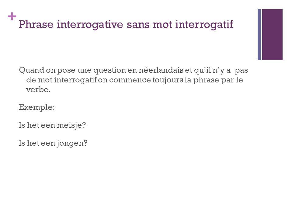 + Traductions 1.Is het een meisje. Antwoord (réponse) : 2.