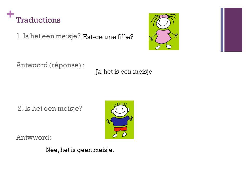 + Traductions 1. Is het een meisje? Antwoord (réponse) : 2. Is het een meisje? Antwword: Est-ce une fille? Nee, het is geen meisje. Ja, het is een mei