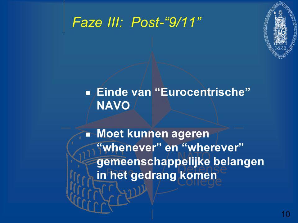 """Faze III: Post-""""9/11"""" Einde van """"Eurocentrische"""" NAVO Moet kunnen ageren """"whenever"""" en """"wherever"""" gemeenschappelijke belangen in het gedrang komen 10"""