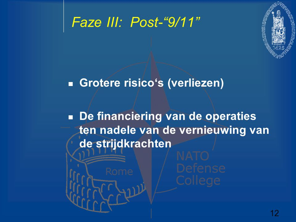"""Faze III: Post-""""9/11"""" Grotere risico's (verliezen) De financiering van de operaties ten nadele van de vernieuwing van de strijdkrachten 12"""