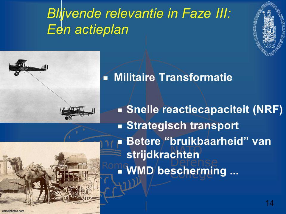 """Blijvende relevantie in Faze III: Een actieplan Militaire Transformatie Snelle reactiecapaciteit (NRF) Strategisch transport Betere """"bruikbaarheid"""" va"""