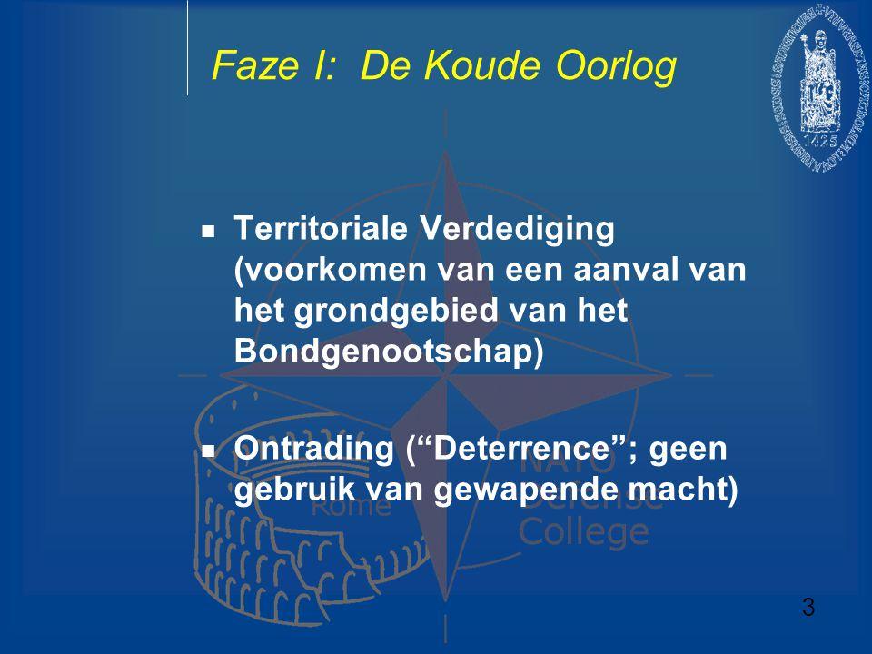 """Faze I: De Koude Oorlog Territoriale Verdediging (voorkomen van een aanval van het grondgebied van het Bondgenootschap) Ontrading (""""Deterrence""""; geen"""
