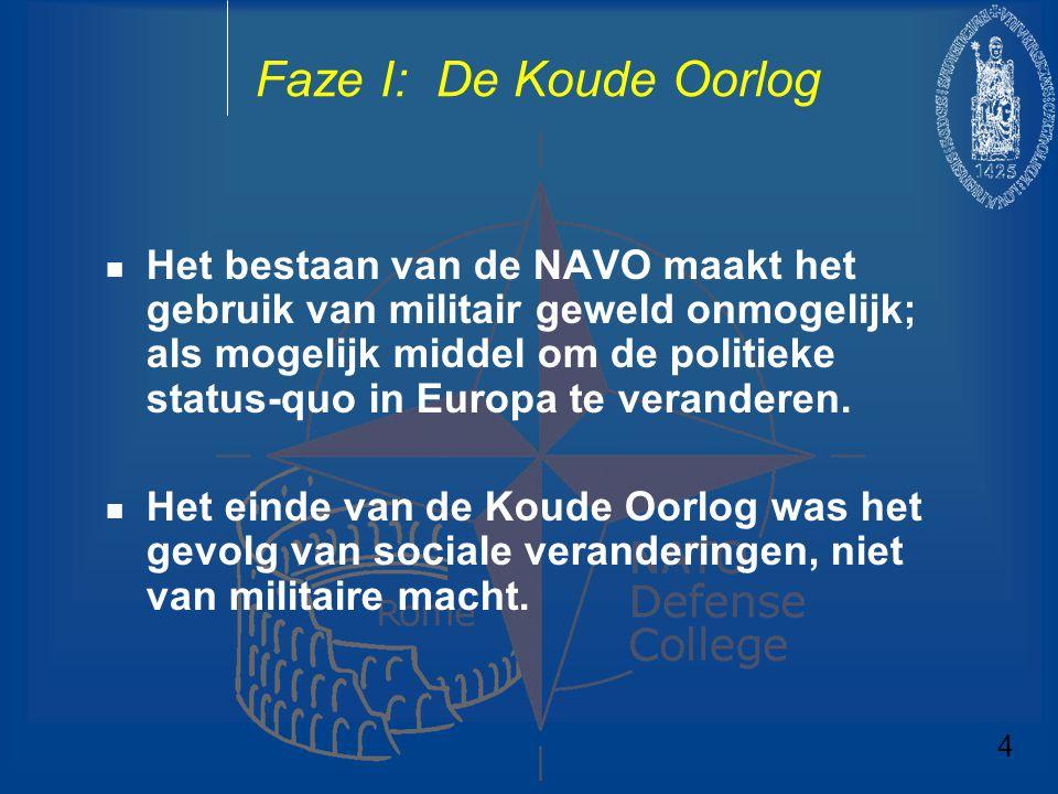 Faze I: De Koude Oorlog Het bestaan van de NAVO maakt het gebruik van militair geweld onmogelijk; als mogelijk middel om de politieke status-quo in Eu