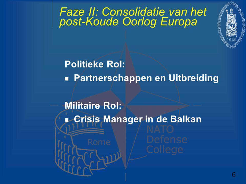 Faze II: Consolidatie van het post-Koude Oorlog Europa Politieke Rol: Partnerschappen en Uitbreiding Militaire Rol: Crisis Manager in de Balkan 6