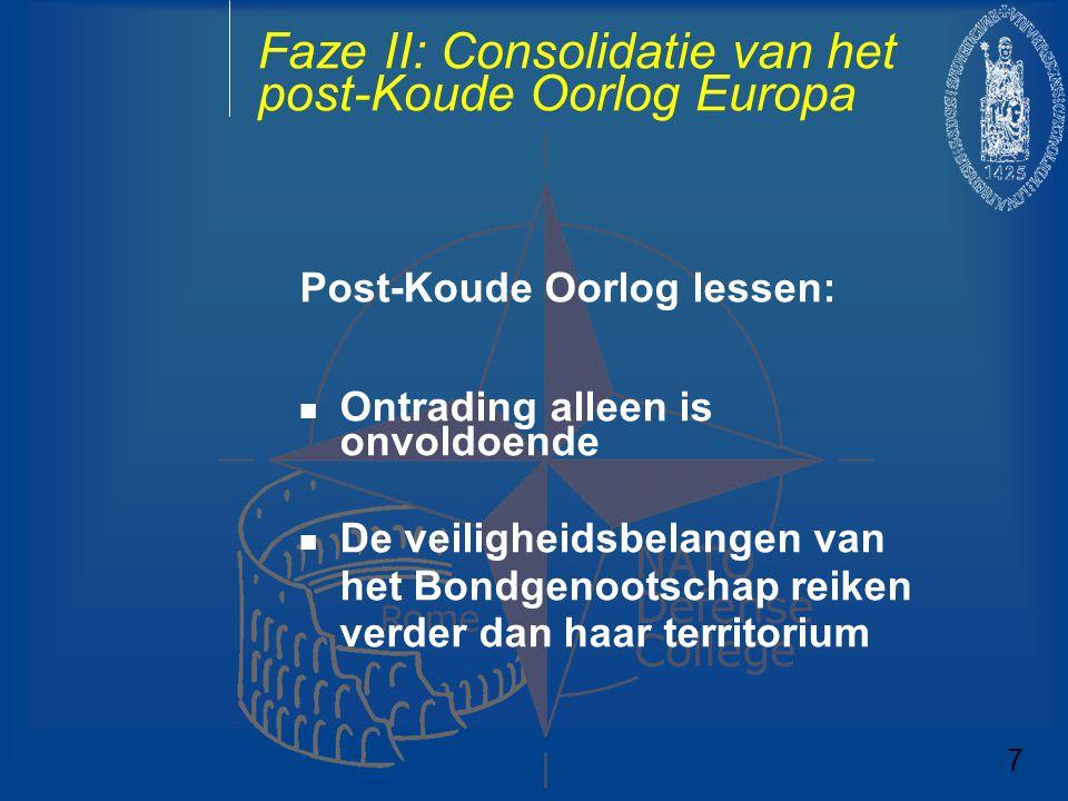 Faze II: Consolidatie van het post-Koude Oorlog Europa Post-Koude Oorlog lessen: Ontrading alleen is onvoldoende De veiligheidsbelangen van het Bondge