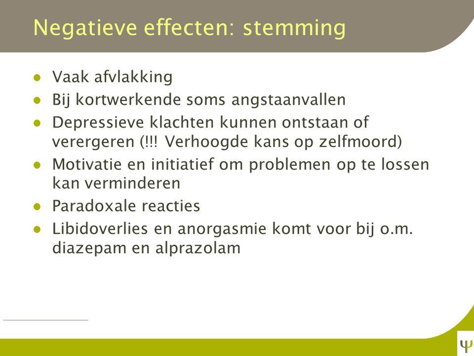 Negatieve effecten: cognitie Anterograde amnesie en blackouts Bij TS met benzo's herkent meer dan de helft van de patiënten 's anderendaags de psychiater niet met wie ze gesproken hebben.* * Verwey, 2000