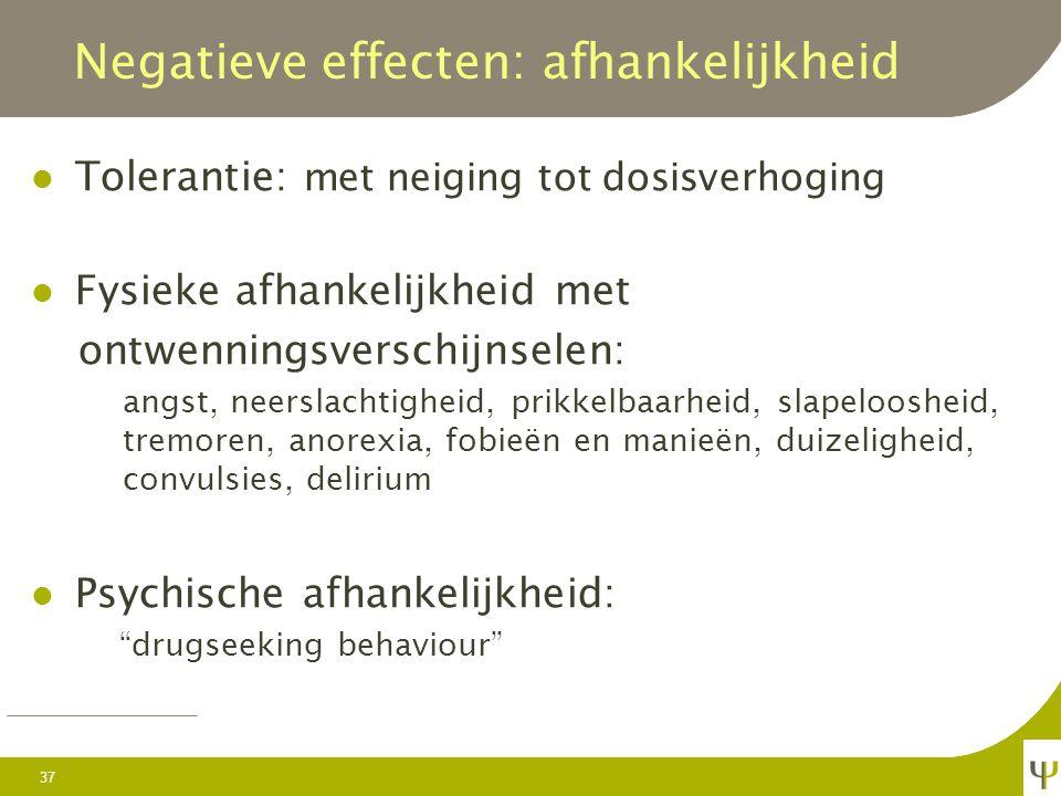 Negatieve effecten: tolerantie Voor het hypnotisch effect reeds na enkele dagen Voor het anxiolytisch effect na enkele weken tot maanden Voor het moto