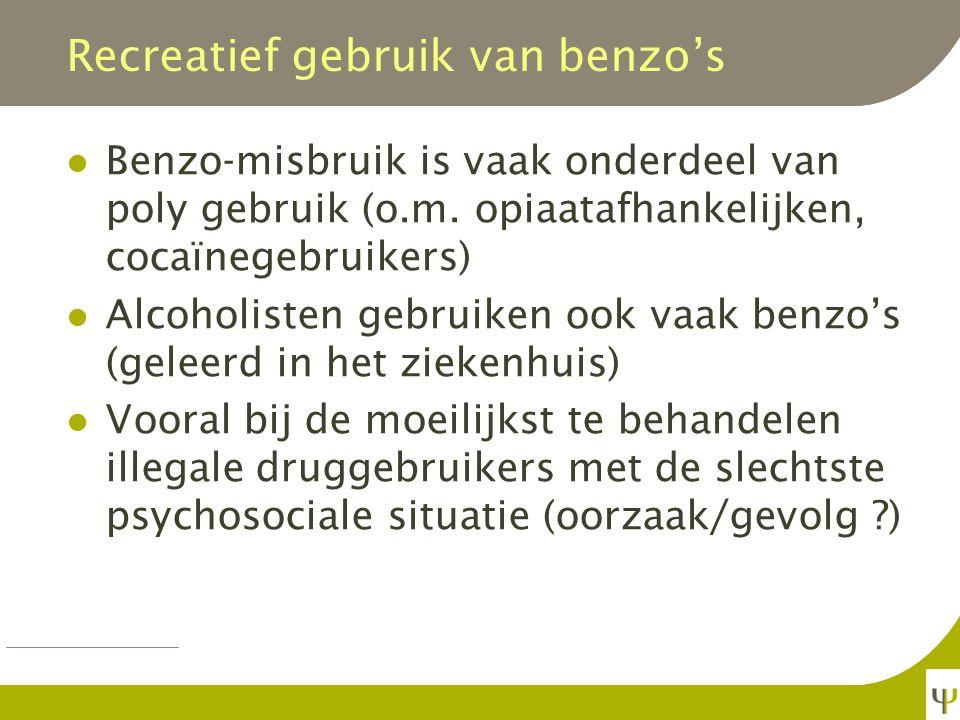 Benzo's hebben een positief bekrachtigend effect Vooral de snelwerkende Vooral in hoge dosis Vooral bij mensen met een voorgeschie- denis van alcohol- of drugsmisbruik Vooral bij mensen met slaap- en angststoornissen