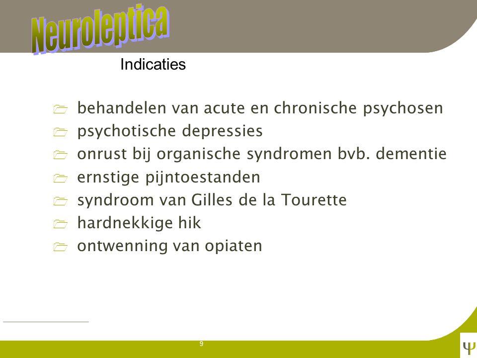 9 1 behandelen van acute en chronische psychosen 1 psychotische depressies 1 onrust bij organische syndromen bvb.