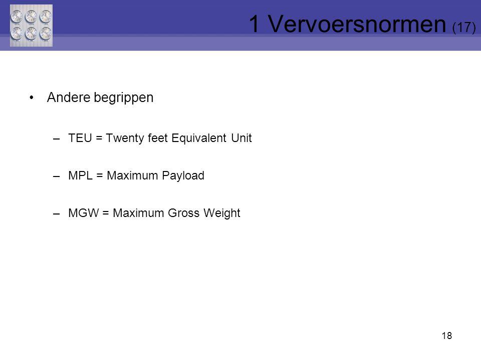 Andere begrippen –TEU = Twenty feet Equivalent Unit –MPL = Maximum Payload –MGW = Maximum Gross Weight 18 1 Vervoersnormen (17)