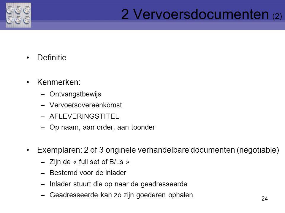 24 Definitie Kenmerken: –Ontvangstbewijs –Vervoersovereenkomst –AFLEVERINGSTITEL –Op naam, aan order, aan toonder Exemplaren: 2 of 3 originele verhand