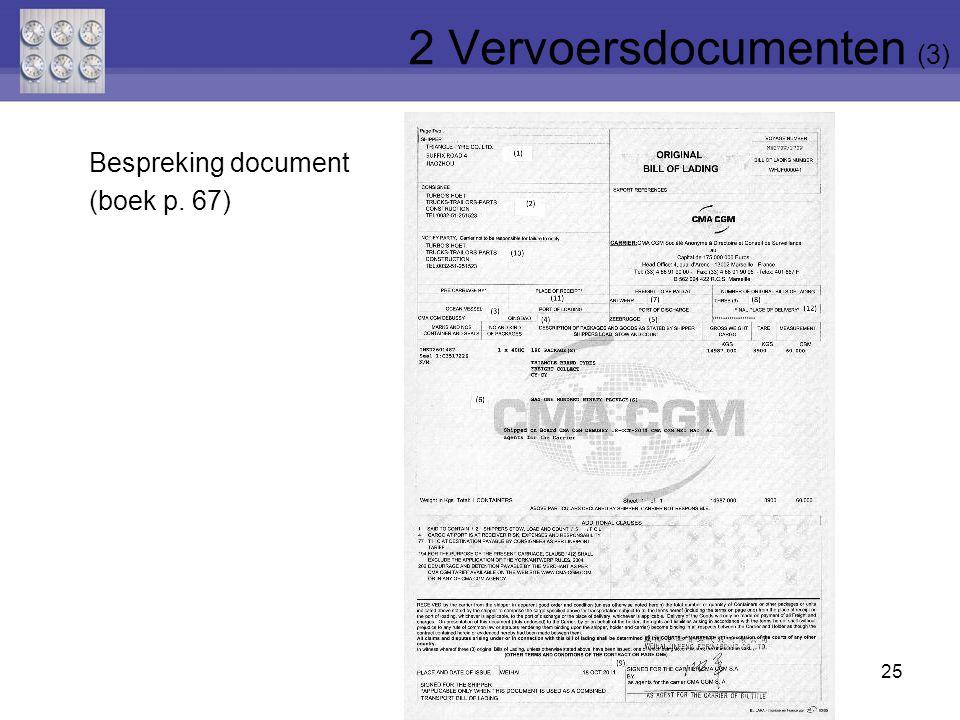 25 Bespreking document (boek p. 67) 2 Vervoersdocumenten (3)