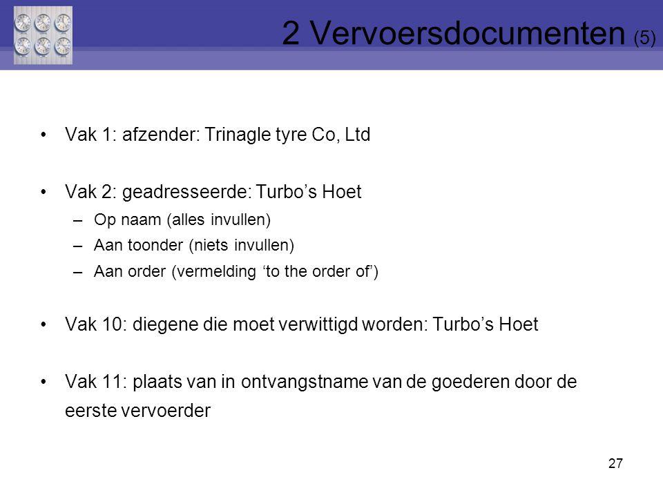 Vak 1: afzender: Trinagle tyre Co, Ltd Vak 2: geadresseerde: Turbo's Hoet –Op naam (alles invullen) –Aan toonder (niets invullen) –Aan order (vermeldi
