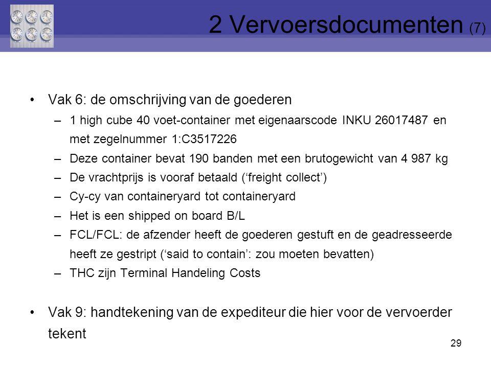 29 2 Vervoersdocumenten (7) Vak 6: de omschrijving van de goederen –1 high cube 40 voet-container met eigenaarscode INKU 26017487 en met zegelnummer 1