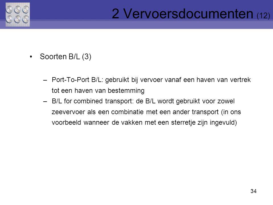 34 Soorten B/L (3) –Port-To-Port B/L: gebruikt bij vervoer vanaf een haven van vertrek tot een haven van bestemming –B/L for combined transport: de B/