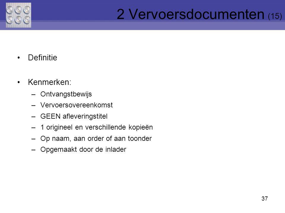 37 Definitie Kenmerken: –Ontvangstbewijs –Vervoersovereenkomst –GEEN afleveringstitel –1 origineel en verschillende kopieën –Op naam, aan order of aan
