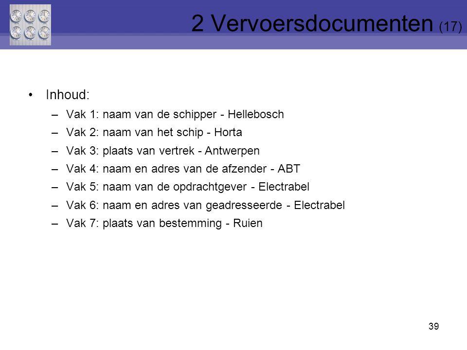 39 Inhoud: –Vak 1: naam van de schipper - Hellebosch –Vak 2: naam van het schip - Horta –Vak 3: plaats van vertrek - Antwerpen –Vak 4: naam en adres v