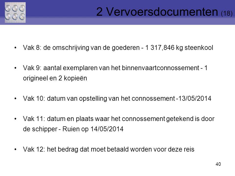 40 Vak 8: de omschrijving van de goederen - 1 317,846 kg steenkool Vak 9: aantal exemplaren van het binnenvaartconnossement - 1 origineel en 2 kopieën