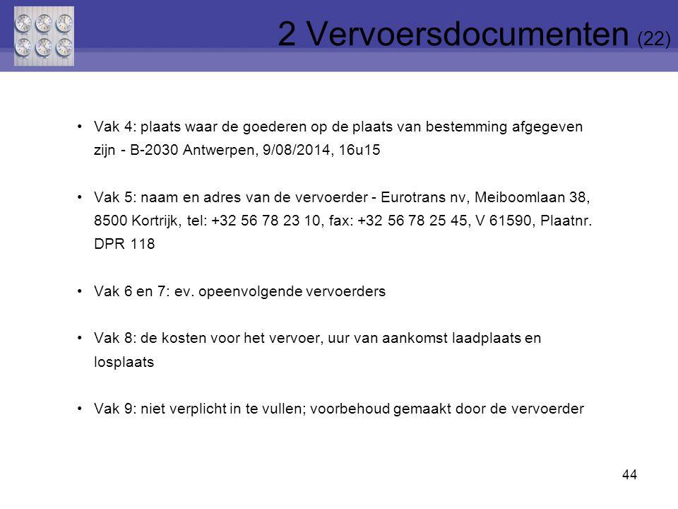 44 Vak 4: plaats waar de goederen op de plaats van bestemming afgegeven zijn - B-2030 Antwerpen, 9/08/2014, 16u15 Vak 5: naam en adres van de vervoerd