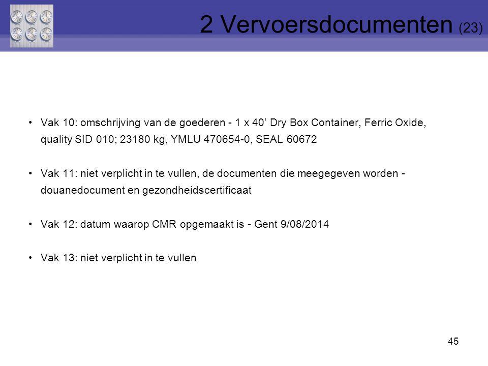 45 Vak 10: omschrijving van de goederen - 1 x 40' Dry Box Container, Ferric Oxide, quality SID 010; 23180 kg, YMLU 470654-0, SEAL 60672 Vak 11: niet v