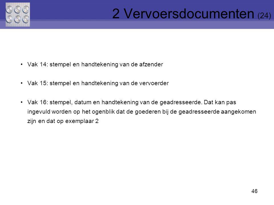 46 Vak 14: stempel en handtekening van de afzender Vak 15: stempel en handtekening van de vervoerder Vak 16: stempel, datum en handtekening van de gea