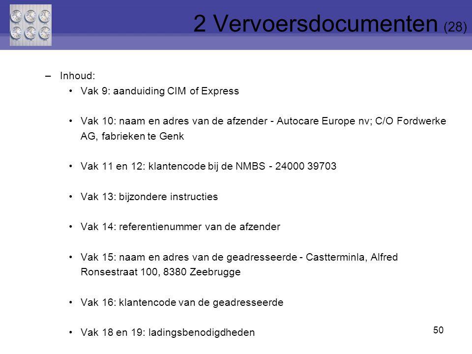 50 –Inhoud: Vak 9: aanduiding CIM of Express Vak 10: naam en adres van de afzender - Autocare Europe nv; C/O Fordwerke AG, fabrieken te Genk Vak 11 en
