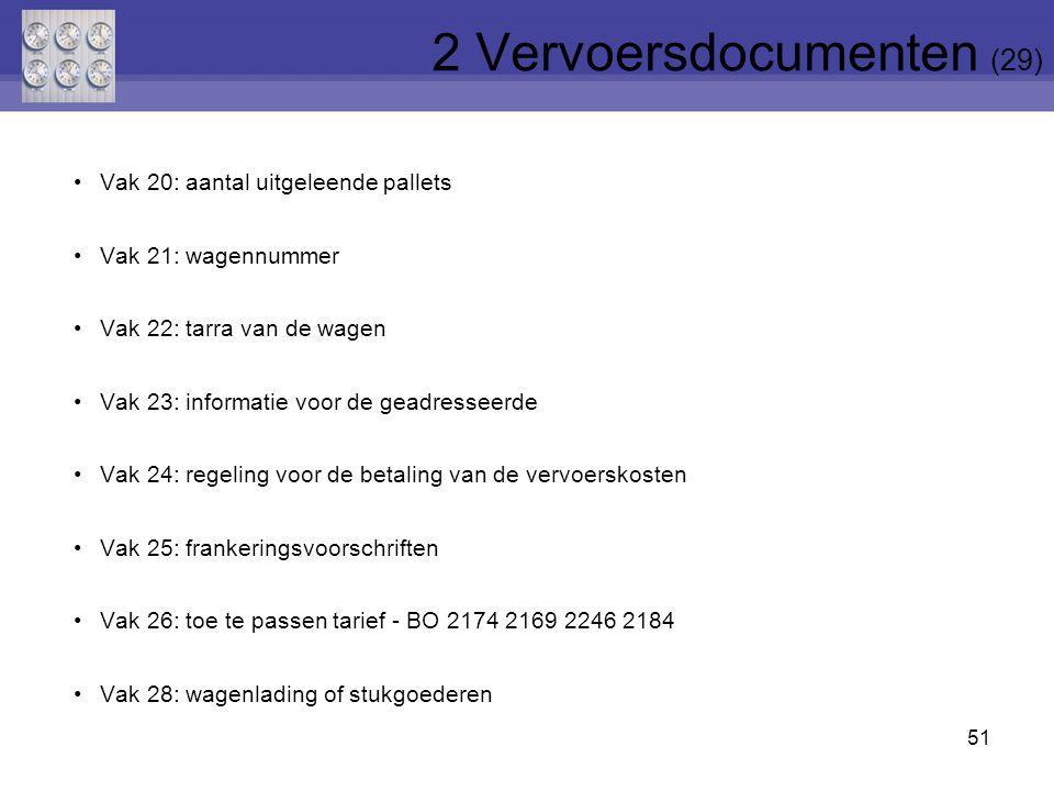 51 Vak 20: aantal uitgeleende pallets Vak 21: wagennummer Vak 22: tarra van de wagen Vak 23: informatie voor de geadresseerde Vak 24: regeling voor de