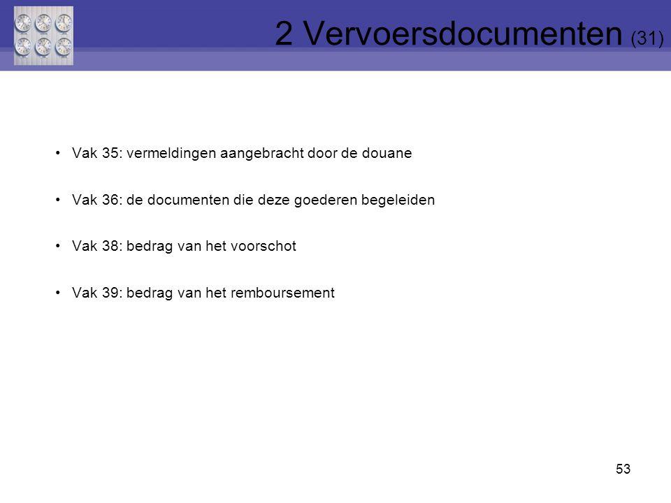 53 Vak 35: vermeldingen aangebracht door de douane Vak 36: de documenten die deze goederen begeleiden Vak 38: bedrag van het voorschot Vak 39: bedrag