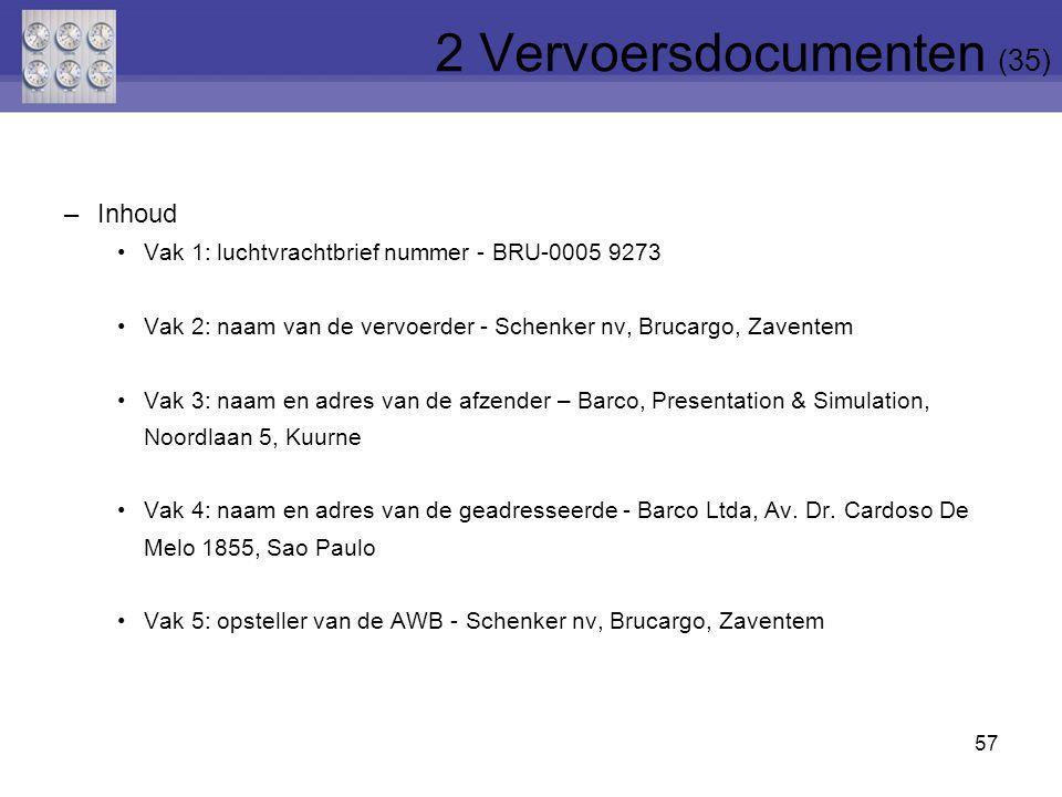 57 –Inhoud Vak 1: luchtvrachtbrief nummer - BRU-0005 9273 Vak 2: naam van de vervoerder - Schenker nv, Brucargo, Zaventem Vak 3: naam en adres van de
