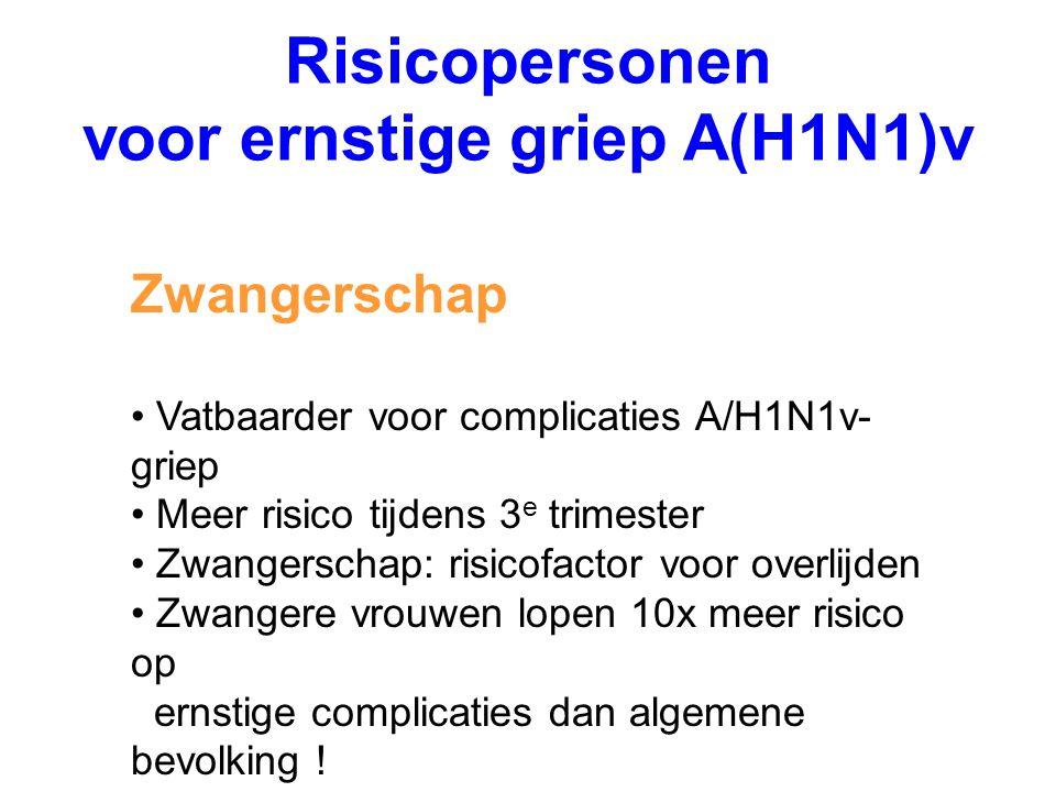 Risicopersonen voor ernstige griep A(H1N1)v Zwangerschap Vatbaarder voor complicaties A/H1N1v- griep Meer risico tijdens 3 e trimester Zwangerschap: r