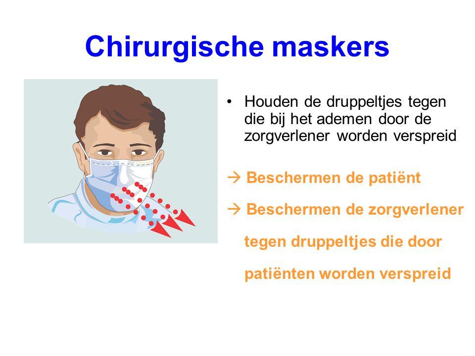 Chirurgische maskers Houden de druppeltjes tegen die bij het ademen door de zorgverlener worden verspreid  Beschermen de patiënt  Beschermen de zorg