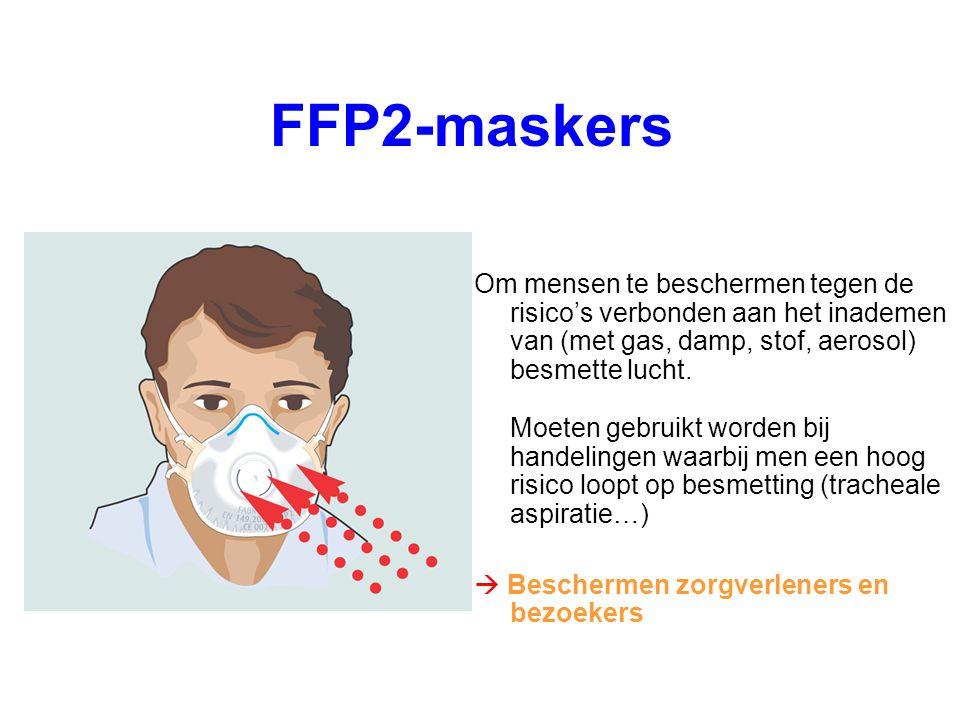 FFP2-maskers Om mensen te beschermen tegen de risico's verbonden aan het inademen van (met gas, damp, stof, aerosol) besmette lucht. Moeten gebruikt w