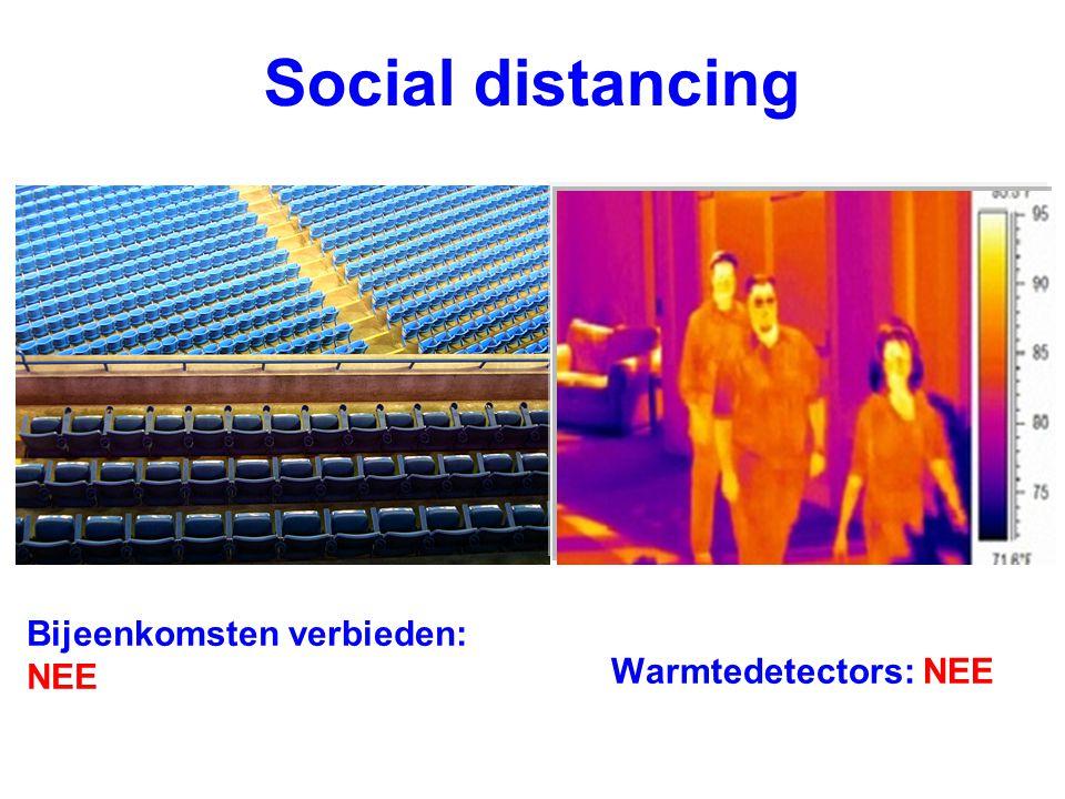 Bijeenkomsten verbieden: NEE Warmtedetectors: NEE Social distancing