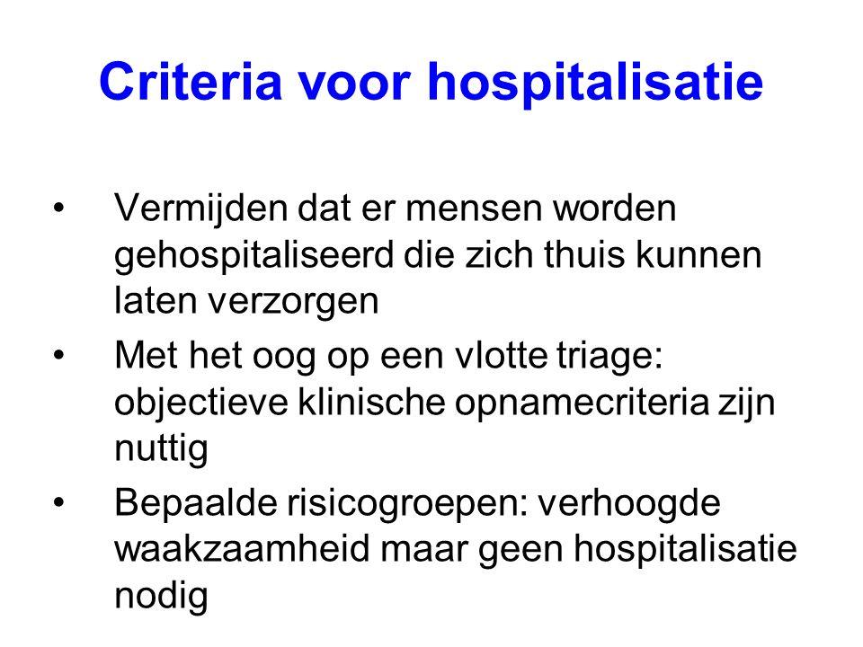 Criteria voor hospitalisatie Vermijden dat er mensen worden gehospitaliseerd die zich thuis kunnen laten verzorgen Met het oog op een vlotte triage: o