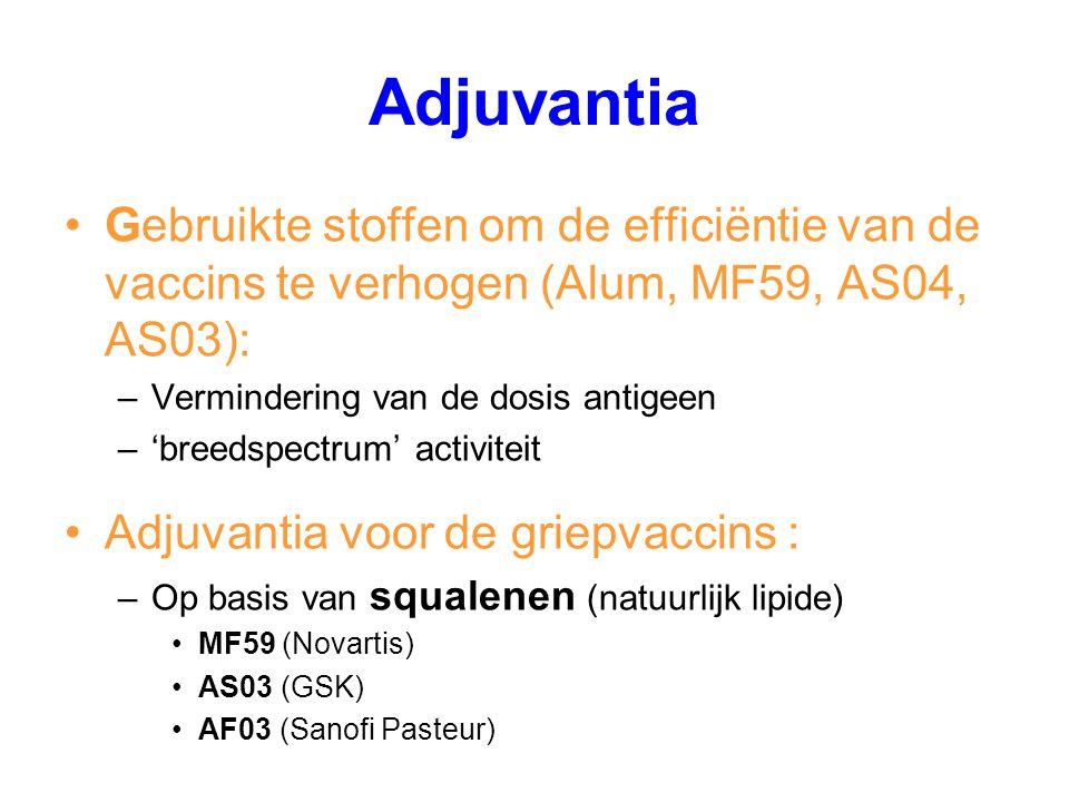 Adjuvantia Gebruikte stoffen om de efficiëntie van de vaccins te verhogen (Alum, MF59, AS04, AS03): –Vermindering van de dosis antigeen –'breedspectru