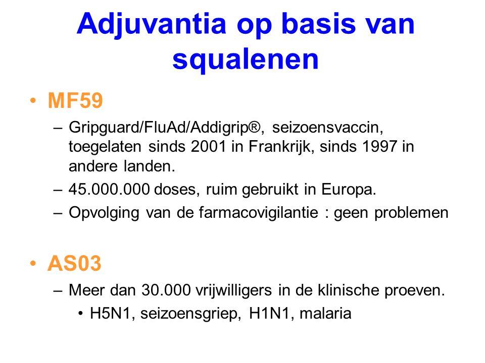 MF59 –Gripguard/FluAd/Addigrip®, seizoensvaccin, toegelaten sinds 2001 in Frankrijk, sinds 1997 in andere landen. –45.000.000 doses, ruim gebruikt in