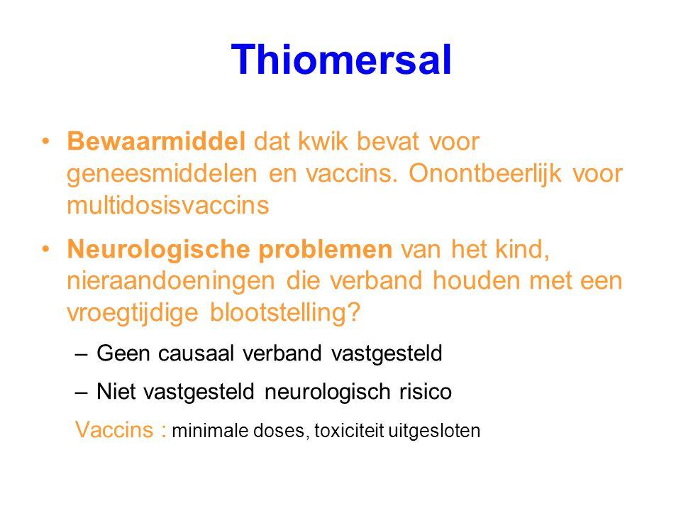 Thiomersal Bewaarmiddel dat kwik bevat voor geneesmiddelen en vaccins. Onontbeerlijk voor multidosisvaccins Neurologische problemen van het kind, nier