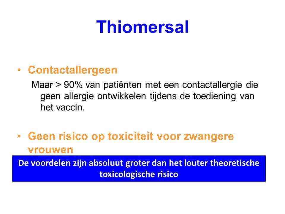 Thiomersal Contactallergeen Maar > 90% van patiënten met een contactallergie die geen allergie ontwikkelen tijdens de toediening van het vaccin. Geen