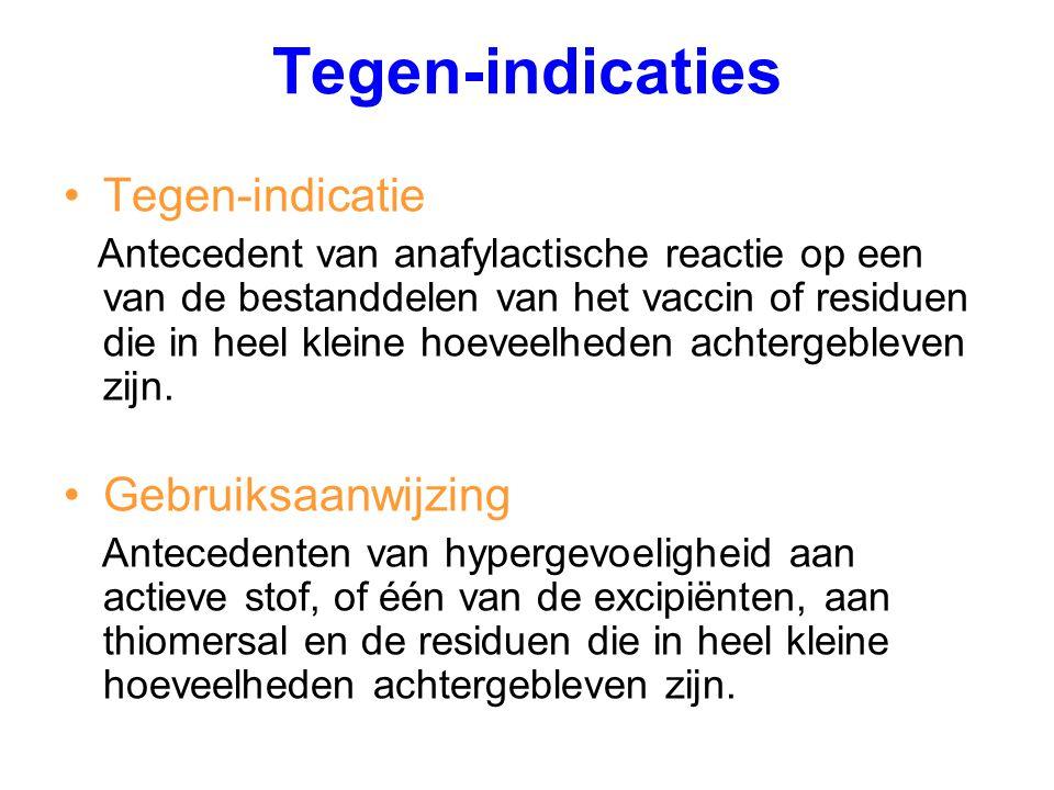 Tegen-indicaties Tegen-indicatie Antecedent van anafylactische reactie op een van de bestanddelen van het vaccin of residuen die in heel kleine hoevee