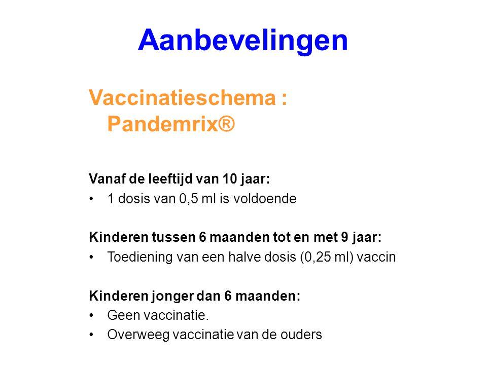 Vaccinatieschema : Pandemrix® Vanaf de leeftijd van 10 jaar: 1 dosis van 0,5 ml is voldoende Kinderen tussen 6 maanden tot en met 9 jaar: Toediening v