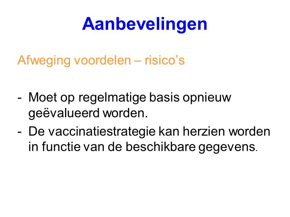 Afweging voordelen – risico's -Moet op regelmatige basis opnieuw geëvalueerd worden. -De vaccinatiestrategie kan herzien worden in functie van de besc