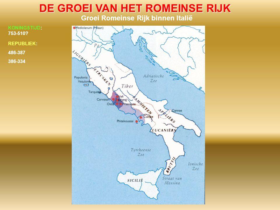 DE GROEI VAN HET ROMEINSE RIJK Groei Romeinse Rijk binnen Italië 486-387 386-334 KONINGSTIJD: 753-510? REPUBLIEK: