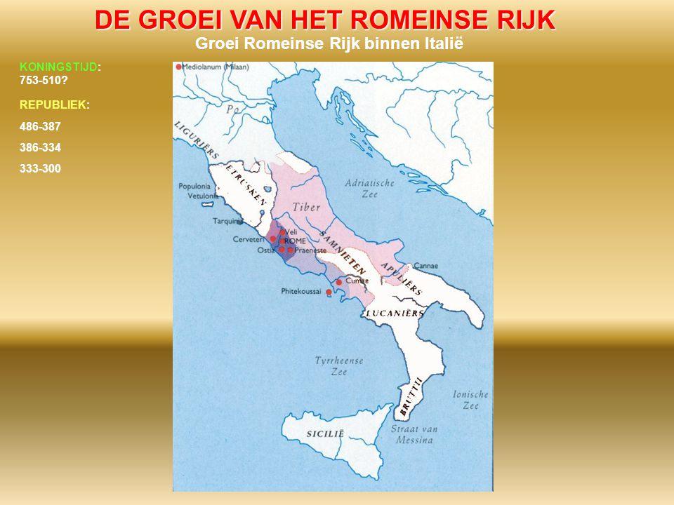 DE GROEI VAN HET ROMEINSE RIJK Groei Romeinse Rijk binnen Italië 486-387 386-334 333-300 KONINGSTIJD: 753-510? REPUBLIEK: