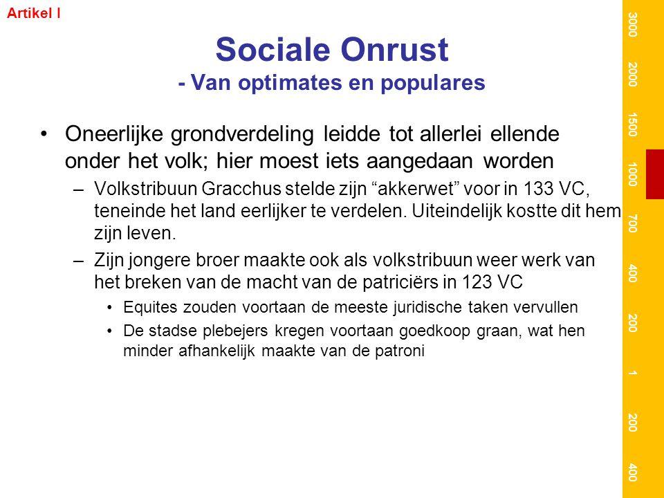 Sociale Onrust - Van optimates en populares Oneerlijke grondverdeling leidde tot allerlei ellende onder het volk; hier moest iets aangedaan worden –Vo